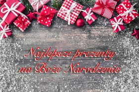 43659780 - christmas background with decorations and gift boxes on wooden board